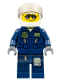 Minifig No: cty0383a  Name: Forest Police - Helicopter Pilot, Dark Blue Flight Suit with Badge, Helmet, Black and Silver Sunglasses, Black Eyebrows