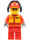 Minifig No: cty0386  Name: Monster Truck Mechanic, Race Suit with Airborne Spoilers Logo, Red Cap with Hole, Headphones, Black and Silver Sunglasses