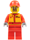 Minifig No: cty0387  Name: Monster Truck Mechanic, Race Suit with Airborne Spoilers Logo, Red Cap with Hole, Safety Goggles
