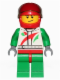 Minifig No: cty0389a  Name: Race Car Driver, White Race Suit with Octan Logo, Red Helmet with Trans-Black Visor, Crooked Smile with Brown Dimple