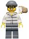 Minifig No: cty0392  Name: Police - Jail Prisoner 50380 Prison Stripes, Dark Bluish Gray Legs, Dark Bluish Gray Knit Cap, Backpack, Mask