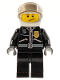 Minifig No: cty0393  Name: Police - City Leather Jacket with Gold Badge and 'POLICE' on Back, White Helmet, Trans-Black Visor, Crooked Smile
