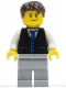 Minifig No: cty0395  Name: Black Vest with Blue Striped Tie, Light Bluish Gray Legs, White Arms, Dark Brown Short Tousled Hair, Crooked Smile