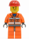 Minifig No: cty0397  Name: Construction Worker - Orange Zipper, Safety Stripes, Orange Arms, Orange Legs, Dark Bluish Gray Hips, Red Construction Helmet, Smirk and Stubble Beard