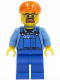 Minifig No: cty0398  Name: Overalls with Tools in Pocket Blue, Orange Short Bill Cap, Safety Goggles