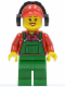 Minifig No: cty0399  Name: Overalls Farmer Green, Red Cap with Hole, Headphones
