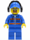 Minifig No: cty0401  Name: Blue Jacket with Pockets and Orange Stripes, Blue Legs, Blue Cap with Hole, Headphones, Safety Goggles