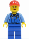 Minifig No: cty0402  Name: Overalls with Tools in Pocket Blue, Red Short Bill Cap, Eyelashes and Red Lips