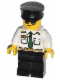 Minifig No: cty0403  Name: Airport - Pilot, White Shirt with Dark Green Tie and Belt, Black Legs, Black Hat