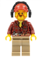 Minifig No: cty0404  Name: Flannel Shirt with Pocket and Belt, Dark Tan Legs, Red Cap with Hole, Headphones, Beard