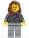 Minifig No: cty0419  Name: Dark Bluish Gray Jacket with Magenta Scarf, Light Bluish Gray Legs, Reddish Brown Female Hair over Shoulder, Red Lips