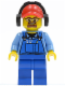 Minifig No: cty0422  Name: Cargo Worker - Overalls with Tools in Pocket Blue, Red Cap with Hole, Headphones, Safety Goggles