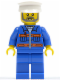 Minifig No: cty0426  Name: Blue Jacket with Pockets and Orange Stripes, Blue Legs, White Hat, Gray Beard