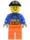 Minifig No: cty0427  Name: Overalls with Safety Stripe Orange, Orange Legs, Black Knit Cap (Dock Worker)