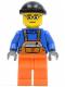 Minifig No: cty0428  Name: Overalls with Safety Stripe Orange, Orange Legs, Black Knit Cap, Glasses (Crane Operator)