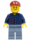 Minifig No: cty0431  Name: Plaid Button Shirt, Sand Blue Legs, Dark Red Short Bill Cap, Crooked Smile