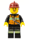 Minifig No: cty0434  Name: Fire - Reflective Stripe Vest with Pockets and Shoulder Strap, Dark Red Fire Helmet, Black Eyebrows