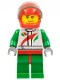 Minifig No: cty0435  Name: Race Car Driver, White Race Suit with Octan Logo, Red Helmet with Trans-Black Visor, Smirk and Stubble Beard