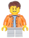 Minifig No: cty0440  Name: Orange Jacket with Hood over Light Blue Sweater, Light Bluish Gray Short Legs, Reddish Brown Short Tousled Hair