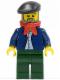 Minifig No: cty0441  Name: Dark Blue Jacket, Light Blue Shirt, Dark Green Legs, Red Bandana, Black Beret
