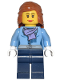 Minifig No: cty0443  Name: Medium Blue Jacket with Light Purple Scarf, Dark Blue Legs, Dark Orange Female Hair Mid-Length