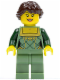 Minifig No: cty0444  Name: Sand Green Female Corset with Gold Trimmed Front, Sand Green Legs, Dark Brown Hair Ponytail Long French Braided
