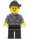 Minifig No: cty0445  Name: Dark Bluish Gray Jacket with Magenta Scarf, Black Legs, Top Knot Bun