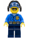Minifig No: cty0455  Name: Police - City Officer, Gold Badge, Dark Blue Cap with Hole, Headphones, Sunglasses
