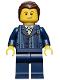 Minifig No: cty0460  Name: Businessman Pinstripe Jacket and Gold Tie, Dark Blue Legs, Dark Brown Hair, Crooked Smile