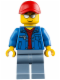 Minifig No: cty0461  Name: Blue Jacket over Dark Red V-Neck Sweater, Sand Blue Legs, Red Cap with Hole, Silver Sunglasses