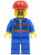 Minifig No: cty0471  Name: Blue Jacket with Pockets and Orange Stripes, Blue Legs, Red Construction Helmet, Safety Goggles