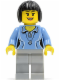 Minifig No: cty0472  Name: Medium Blue Female Shirt with Two Buttons and Shell Pendant, Light Bluish Gray Legs, Black Bob Cut Hair