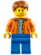 Minifig No: cty0473  Name: Orange Jacket with Hood over Light Blue Sweater, Blue Legs, Dark Orange Short Tousled Hair, Crooked Smile with Black Dimple