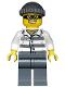 Minifig No: cty0486  Name: Police - Jail Prisoner 86753 Prison Stripes, Dark Bluish Gray Knit Cap, Mask