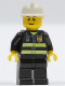Minifig No: cty0489  Name: Fire - Reflective Stripes, Black Legs, White Fire Helmet, Black Eyebrows, Thin Grin