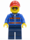 Minifig No: cty0500  Name: Blue Jacket with Pockets and Orange Stripes, Dark Blue Legs, Red Cap with Hole, Sunglasses