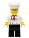 Minifig No: cty0502a  Name: Chef - White Torso with 8 Buttons, Black Legs, Rounded Glasses, Brown Eyebrows