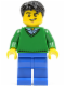 Minifig No: cty0503  Name: Green V-Neck Sweater, Blue Legs, Black Short Tousled Hair, Lopsided Grin