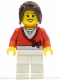 Minifig No: cty0504  Name: Sweater Cropped with Bow, Heart Necklace, White Legs, Dark Brown Hair Ponytail Long with Side Bangs