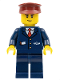 Minifig No: cty0505  Name: Dark Blue Suit with Train Logo, Dark Blue Legs, Dark Red Hat, Cheek Lines