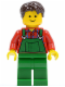 Minifig No: cty0521  Name: Overalls Farmer Green, Dark Brown Short Tousled Hair, Standard Grin