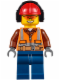 Minifig No: cty0527  Name: Construction Worker - Orange Zipper, Safety Stripes, Belt, Brown Shirt, Dark Blue Legs, Red Construction Helmet, Headphones, Orange Sunglasses