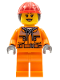 Minifig No: cty0528  Name: Construction Worker - Chest Pocket Zippers, Belt over Dark Gray Hoodie, Red Construction Helmet with Long Hair, Black Eyebrows