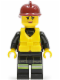 Minifig No: cty0538  Name: Fire - Reflective Stripe Vest with Pockets and Shoulder Strap, Dark Red Fire Helmet, Life Jacket Center Buckle, Female Pink Lips