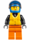 Minifig No: cty0542  Name: Powerboat Driver Male, Crooked Smile with Brown Dimple