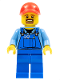 Minifig No: cty0570  Name: Overalls with Tools in Pocket Blue, Red Cap with Hole, Brown Moustache and Goatee