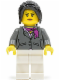Minifig No: cty0575  Name: Dark Bluish Gray Jacket with Magenta Scarf, White Legs, Black Hair Ponytail Long with Side Bangs (City Square Car Saleswoman)