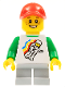 Minifig No: cty0577  Name: Classic Space Minifigure Floating Pattern, Light Bluish Gray Short Legs, Red Cap with Hole