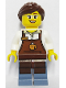Minifig No: cty0580  Name: City Square Barista - Reddish Brown Apron with Cup, Reddish Brown Ponytail and Swept Sideways Fringe, Glasses and Smile