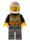 Minifig No: cty0587  Name: Fire - Reflective Stripe Vest with Pockets and Shoulder Strap,White Helmet, Brown Eyebrows